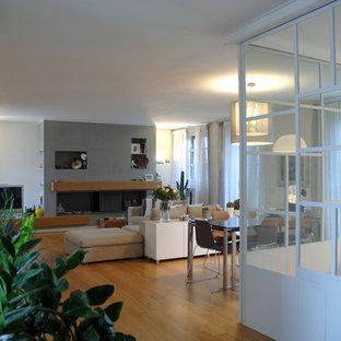 Foto di un soggiorno minimal di medie dimensioni e aperto con pareti bianche, parquet chiaro, camino lineare Ribbon e cornice del camino in cemento