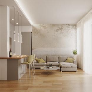 Foto de salón para visitas abierto y papel pintado, actual, pequeño, papel pintado, con paredes blancas, suelo de baldosas de porcelana, televisor colgado en la pared y papel pintado