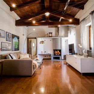 Idee per un grande soggiorno country aperto con TV autoportante, pareti bianche, stufa a legna, cornice del camino in metallo, pavimento in legno massello medio e pavimento arancione