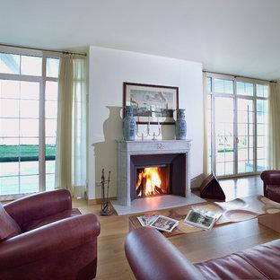 Foto di un soggiorno design di medie dimensioni e chiuso con pareti bianche, pavimento in legno massello medio, camino classico e cornice del camino in pietra