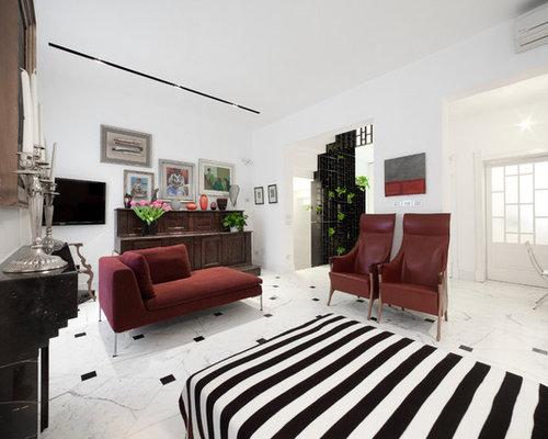 Grande soggiorno con pavimento in marmo foto e idee per arredare