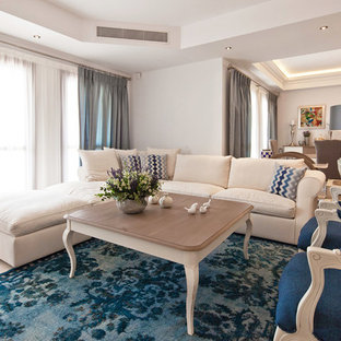 Inspiration for a large traditional formal open concept living room in Venice with white walls, marble floors and beige floor.