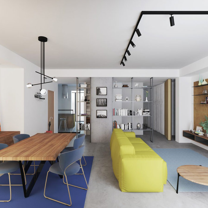 Example of a trendy living room design in Catania-Palermo