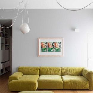 Ispirazione per un soggiorno design di medie dimensioni e chiuso con pareti grigie e pavimento in legno massello medio