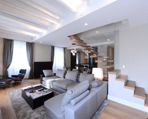 Foto e idee per living living con pareti grigie - Pareti grigie soggiorno ...