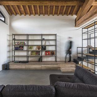 Modelo de sala de estar tipo loft, campestre, sin chimenea y televisor, con paredes blancas, suelo gris y suelo de cemento