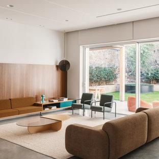 Ispirazione per un grande soggiorno contemporaneo aperto con sala formale, pareti bianche, nessuna TV e pavimento grigio