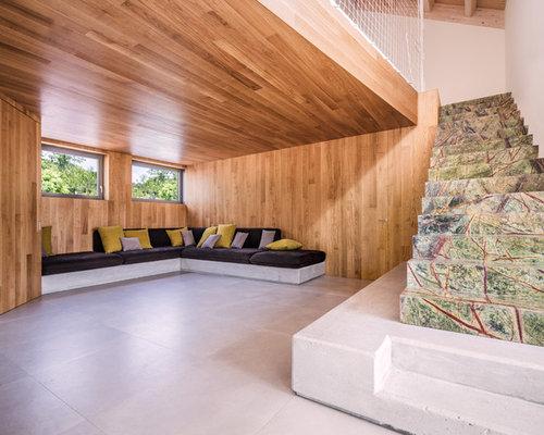 rustikale wohnzimmer mit porzellan bodenfliesen ideen design bilder beispiele. Black Bedroom Furniture Sets. Home Design Ideas