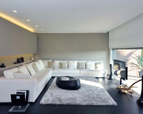 Grande soggiorno con pareti grigie - Foto e Idee per Arredare