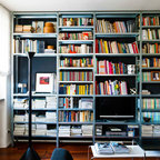 Black Painted Bookcase With Beadboard Interior