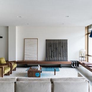 Esempio di un soggiorno design chiuso con sala formale, pareti bianche, pavimento in cemento e pavimento grigio