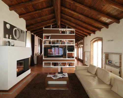 Country Living Room Design Ideas Renovations Photos With Terra Cotta Floors