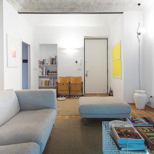 Immagine di un soggiorno contemporaneo di medie dimensioni e chiuso con pareti bianche e parquet chiaro