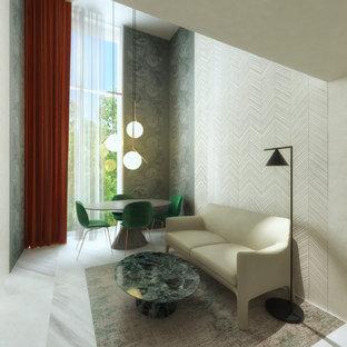 Idee per un piccolo soggiorno minimalista con angolo bar, pareti beige, pavimento in marmo, parete attrezzata e pavimento grigio