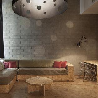 Foto di un soggiorno minimal di medie dimensioni con pareti bianche e parquet chiaro