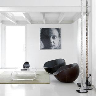 Esempio di un soggiorno contemporaneo di medie dimensioni con pareti bianche
