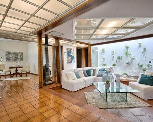 moderne wohnzimmer mit terrakottaboden ideen design
