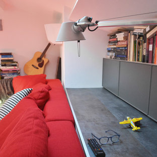 Huge trendy open concept linoleum floor and gray floor family room photo in Other with white walls