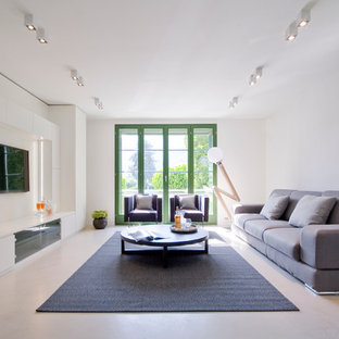 Esempio di un grande soggiorno contemporaneo aperto con pareti bianche e pavimento in gres porcellanato