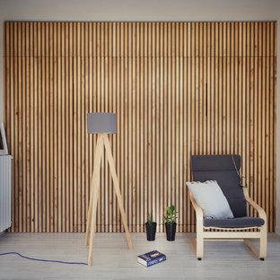 Esempio di un soggiorno minimal di medie dimensioni e aperto con pareti bianche