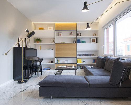 Soggiorno contemporaneo con pavimento in marmo - Foto e Idee per ...