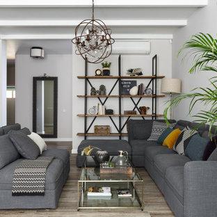 Свежая идея для дизайна: большая открытая гостиная комната в стиле современная классика с библиотекой, серыми стенами, полом из керамогранита, двусторонним камином, фасадом камина из штукатурки и серым полом - отличное фото интерьера