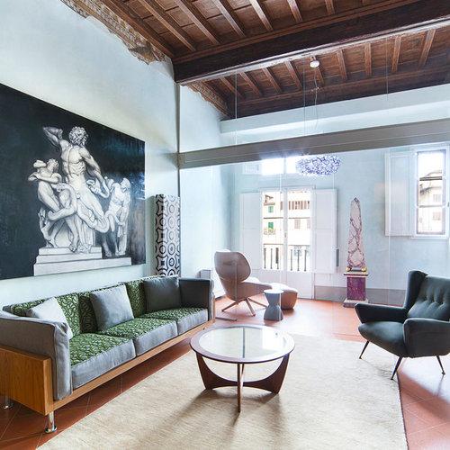 Soggiorno moderno con pavimento in terracotta - Foto e Idee ...