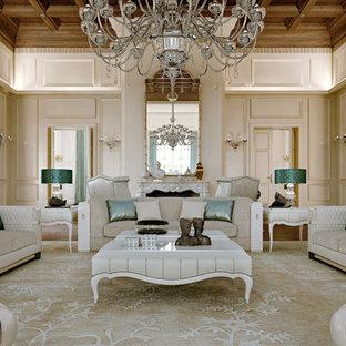 Foto di un soggiorno classico aperto con sala formale, pareti beige e camino classico