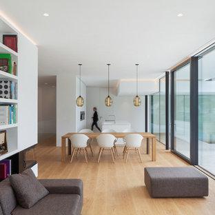 Immagine di un soggiorno minimalista aperto con pareti bianche, parquet chiaro, camino bifacciale, cornice del camino in intonaco, sala formale e pavimento beige