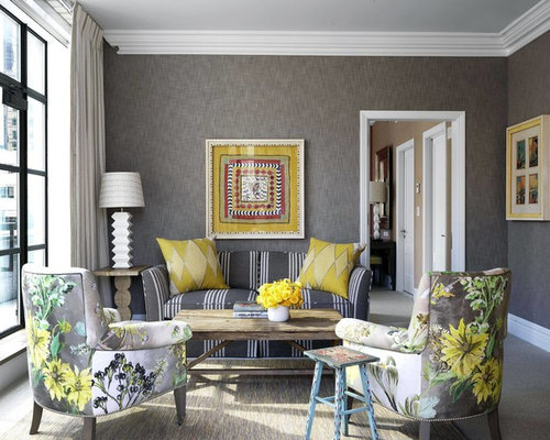 Soggiorno in grigio e giallo foto e idee houzz - Pareti grigie soggiorno ...