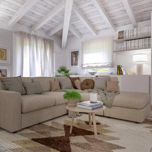 Réalisation d'un salon design de taille moyenne et ouvert avec un mur gris, un sol en carreau de terre cuite, un téléviseur encastré et un sol rose.