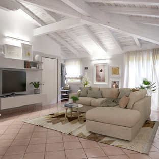 Design ideas for a medium sized contemporary open plan living room with grey walls, terracotta flooring, a built-in media unit and pink floors.