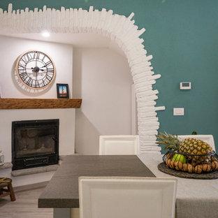 Immagine di un piccolo soggiorno contemporaneo aperto con pareti verdi, pavimento in linoleum, camino ad angolo, cornice del camino in intonaco e parete attrezzata