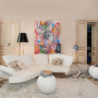 Idee per un soggiorno contemporaneo chiuso con sala formale e pareti beige