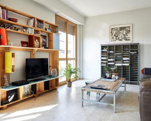 Salon avec une biblioth que ou un coin lecture avec un sol en marbre photos et id es d co de Amenagement d un coin lecture cosy