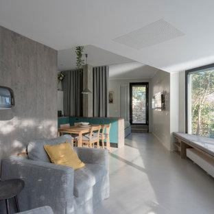 Modelo de salón abierto y madera, contemporáneo, pequeño, madera, con paredes blancas, suelo de cemento, televisor colgado en la pared, suelo gris y madera