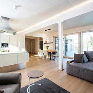 Immagine di un soggiorno contemporaneo aperto con sala formale, pareti bianche e parquet chiaro