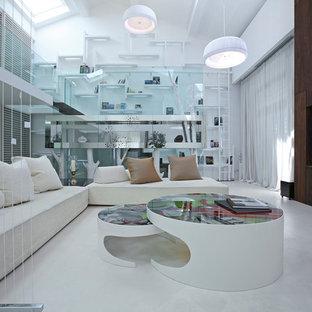 Foto di un ampio soggiorno design aperto con sala della musica, pareti bianche e pavimento in gres porcellanato