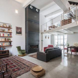 Idee per un ampio soggiorno design con pareti bianche