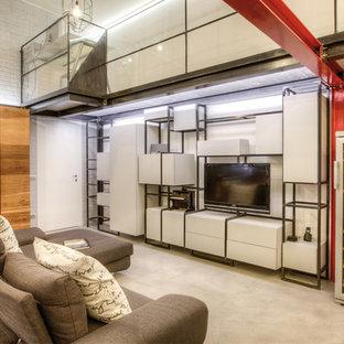 Immagine di un soggiorno industriale stile loft con pareti bianche, pavimento in cemento, TV autoportante e pavimento grigio