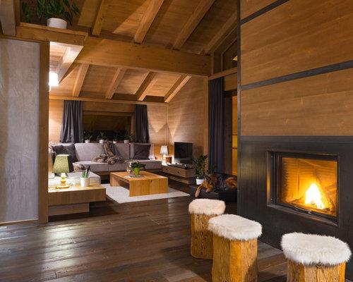 Foto e idee per soggiorni soggiorno in montagna for Case rustiche interni pareti