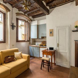 Ispirazione per una piccola cucina mediterranea con ante lisce, ante blu, pavimento in terracotta, nessuna isola e pavimento rosso