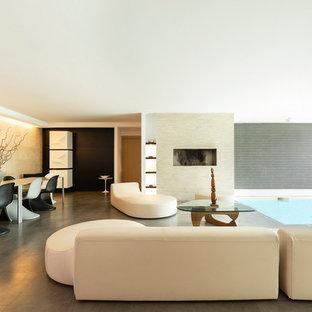 Esempio di un soggiorno moderno con camino lineare Ribbon, pavimento grigio e pareti bianche