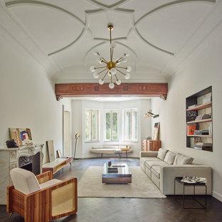 Immagine di un grande soggiorno design chiuso con pareti bianche, parquet scuro, camino classico e cornice del camino in pietra