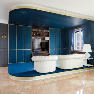 Foto di un ampio soggiorno classico aperto con sala formale, pareti multicolore, pavimento in marmo, parete attrezzata e pavimento arancione