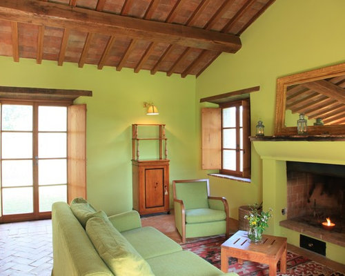 Living Room Design Ideas Renovations Photos With Terracotta Flooring And Green Walls
