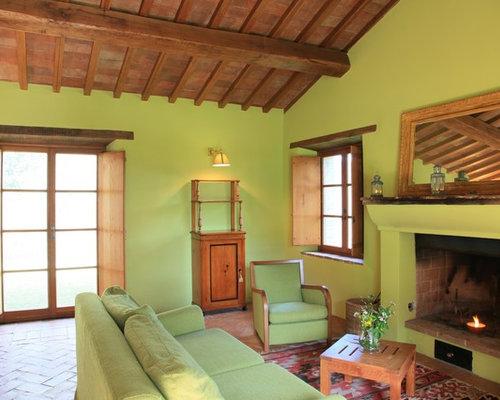 soggiorno mediterraneo con pareti verdi - foto e idee per arredare - Soggiorno Pareti Verdi 2