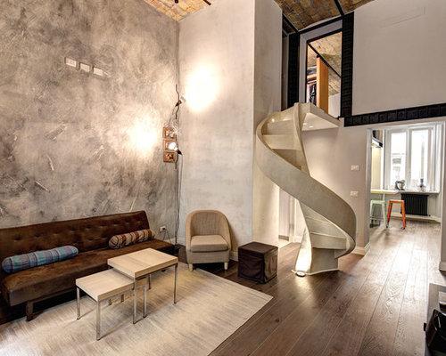 Soggiorno industriale con pareti grigie - Foto e Idee per Arredare