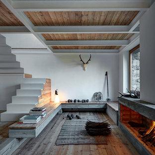 Immagine di un soggiorno stile rurale aperto con pareti bianche, pavimento in legno massello medio, cornice del camino in cemento, pavimento marrone e camino lineare Ribbon