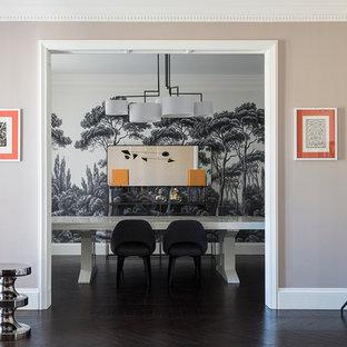 Idee per un grande soggiorno minimal aperto con sala formale, pareti beige e parquet scuro